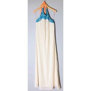 Flying Tomato Teal Halter Neck Boho Maxi Dress